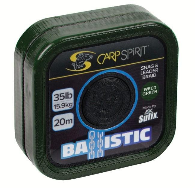 Carp Spirit Ballistic Braided Leader 20 m/15,9 kg/35 lb maskovací zelený
